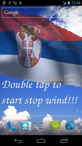 Скачать 3D флаг Сербии LWP для Андроид