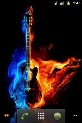Скачать Горящая гитара. Живые обои / Burning Guitar LWP для Андроид