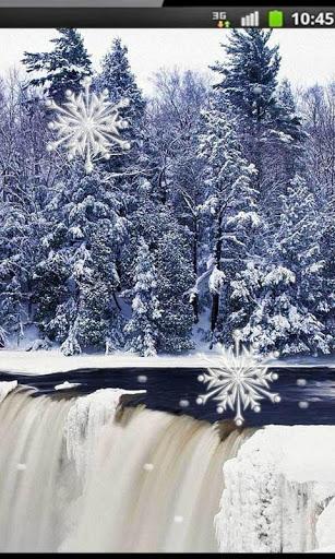 Скачать Зимний Водопад Живые Обои для Андроид